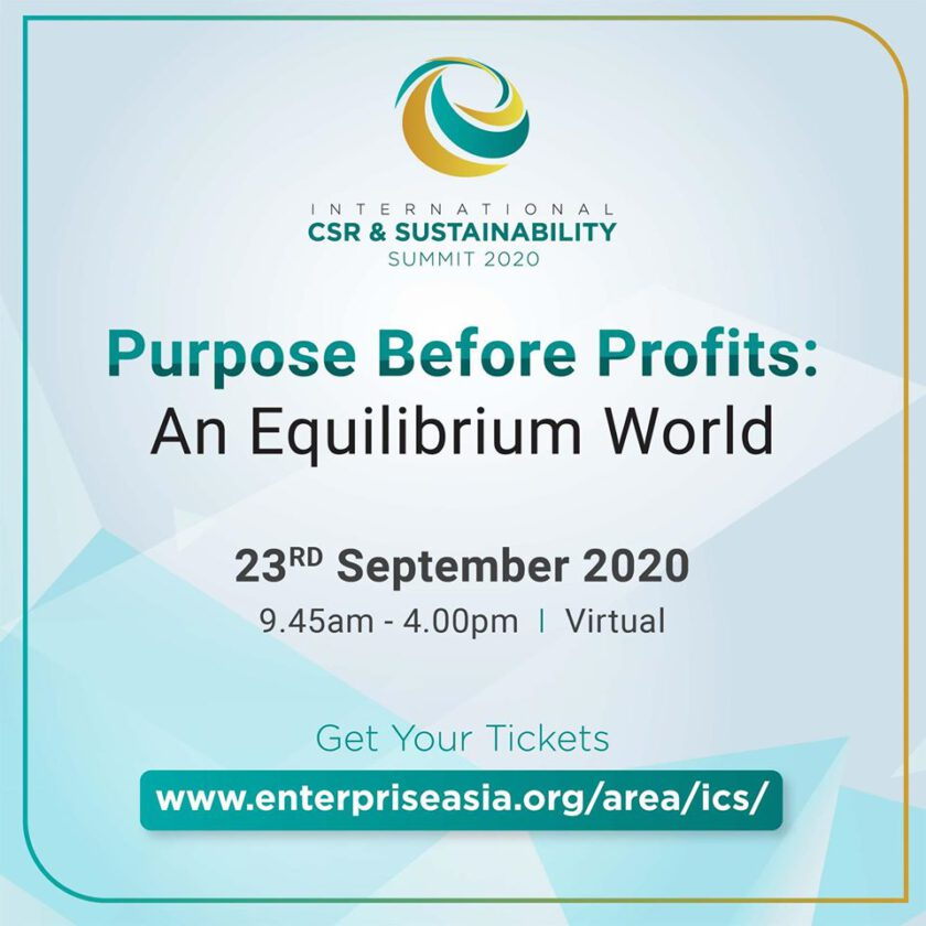 INTERNATIONAL CSR & SUSTAINABILITY SUMMIT 2020: CALL FOR BUSINESS TO  COMMIT TO A HIGHER PURPOSE BEYOND PROFITS