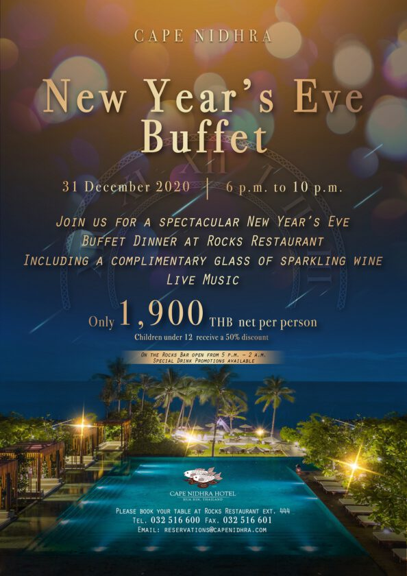 31 Dec 2020! Celebrate New Year's Eve by the Sea at Rocks Restaurant, Cape Nidhra Hotel, Hua-Hin
