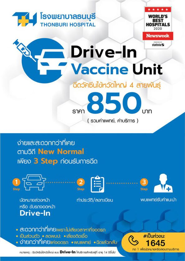 Thonburi Hospital opens Drive-In Vaccine Unit for influenza vaccination conveniently, quickly, and safely.