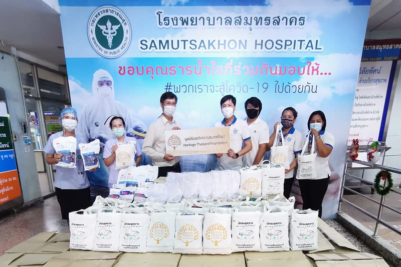 Heritage Thailand Foundation joined forces with Samut Sakhon Hospital medical staff  to step up effort to fight Covid-19